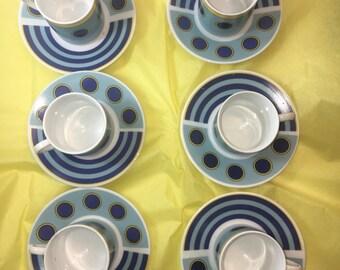 Blue and yellow coffee tea demi tasse set