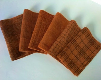 PUMPKIN - 8x6 - Hand Dyed felted WOOL fabric bundle for wool  Applique, Penny Rugs, Quilting  #847