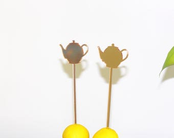 Mrs. Potts/Tea pot Drink stirrer/cake pop stick/dessert stick/stir stick/swizzle stick