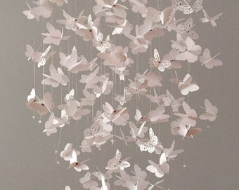 Butterfly mobile, Butterfly Chandelier  Mobile, mostly solid butterflies, all white, girl room mobile,nursery mobile,baby girl mobile,baby
