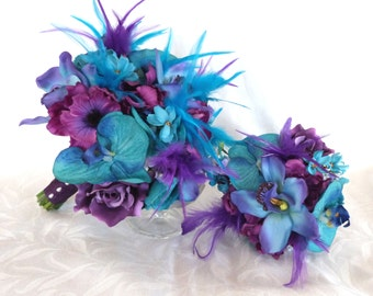 Peacock Shades of blue and purple bridal bouquet and boutonniere set