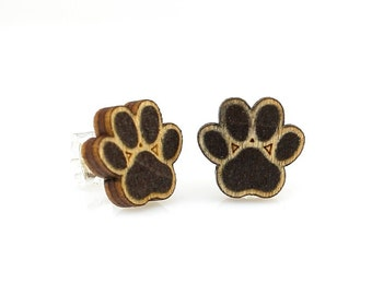 Puppy Paw Studs -  Laser Cut Earrings from Reforested Wood