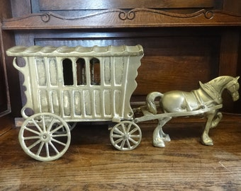 Vintage English Brass Large Horse Wagon Caravan Cart Gypsy Stagecoach Ornament Figurine Sculpture Statue circa 1950-60's / English Shop