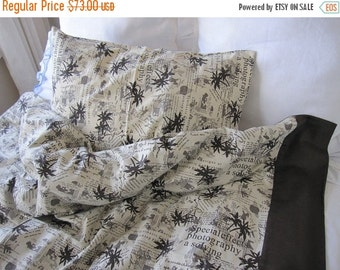 clearance sale duvet cover TWIN XL College dorm room decor BOYS bedding, Cream beige brown bamboo print writing book bedding