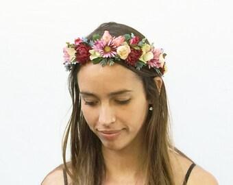 Bridal Flower Crown, Bridal Headpiece, Floral Crown, Flower Crown, Pink, Coral, Rustic, Woodland Wedding, Bohemian Wedding, Rose Crown, Boho