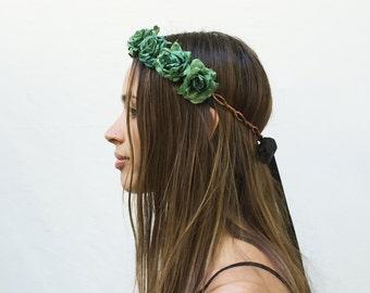 Green Turquoise Rose Crown, Tibetian Turquoise Green, Rose Headband, Rose Crown, Green Flower Crown, Floral Crown, Hippie Headband, Bohemian