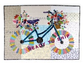 Whimsical Bicycle Art Quilt Pattern, Original Design Wall Art, Bike Lovers Gift, Modern Floral, Bike Patterns, Sally Manke, Cycle Art
