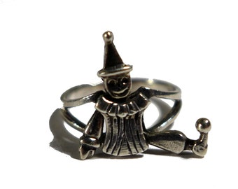 Sterling Silver Articulated Jester Clown Ring Size 5 #2250