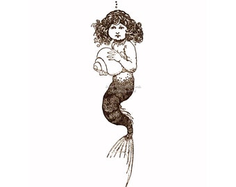 Little Mermaid Print | Mermaid with a Shell | Repro Heath Robinson | Vintage Style