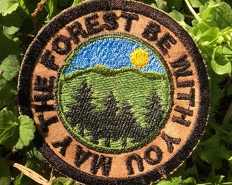 MADE TO ORDER May the Forest be with you, handmade iron on patch, all one, one love, earthlings, nature lover, travel, wander, upcycled, eco