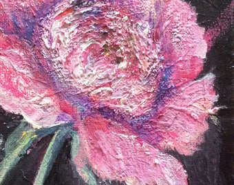 Peony painting flowers still life original floral painting 7 x 5""