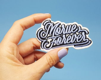 Embroidered patch Morue Forever blue black and white