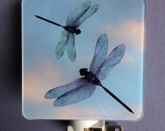 Dragonfly plug-in Night Light. Plug in electric mood light. Safety Nightlight, Bathroom, Nursery, Teens, Kids, Adult Decor. Unique lighting.