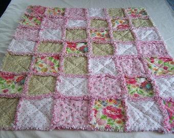 Shabby Chic Rag Quilt - Shabby Chic Crib Quilt - Shabby Chic Quilt - Crib Quilt - Lap Quilt - Crib Rag Quilt - Pink Crib Rag Quilt