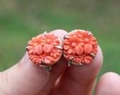 Vintage Faux Coral Glass Art Deco Floral Earrings Flower Earrings 1930s Screw Backs