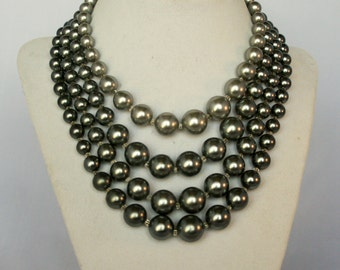 Vintage Four Strand Glass Beaded Pearl Necklace 1960s Mad Men Style Silver Gray Pearls Japan