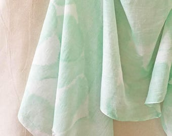 Hand Painted Scarf, Green Cotton Scarf, Shibori Scarf, Watercolor Scarf, Summer Scarf, Boho Scarf, Beach Scarf, USA, Mint Green Scarf