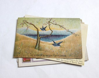 8 Vintage Greeting Postcards -  Unused Blank Postcards