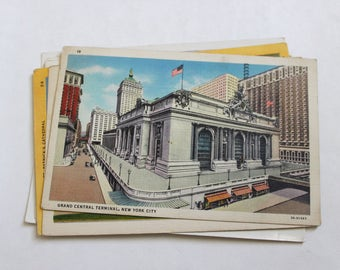 7 Vintage New York City Postcards Used - Collage, Mixed Media, Scrapbooking, Assemblage, Paper Craft, Art Journal Supplies