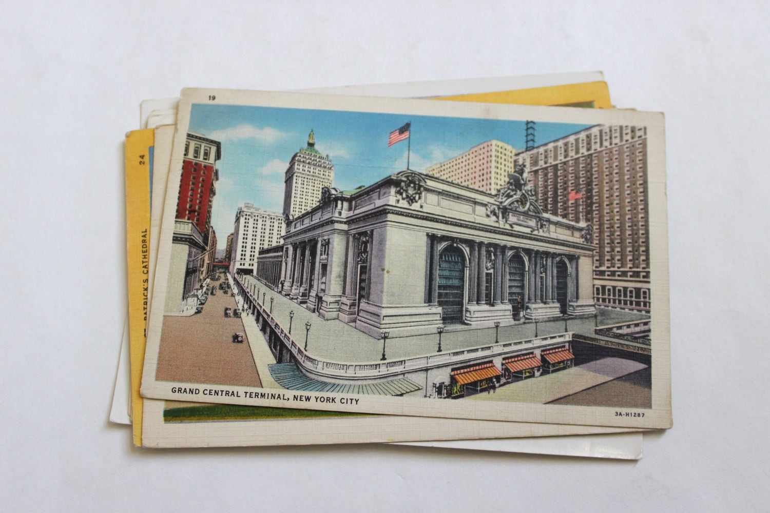7 vintage new york city postcards used collage mixed for Art and craft stores nyc