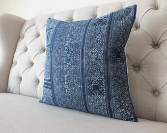 Indigo batik, Hmong fabric, cushion cover, Handprinted  Batik Fabric,Decorative Cushion,Throw Pillow,Decorative Pillow