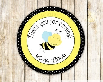 Bee Labels Bee Baby Shower Stickers Bee Printable Stickers Bee Gender Reveal Favor Labels Bee Favor Tags Printable Bee Thank You Label