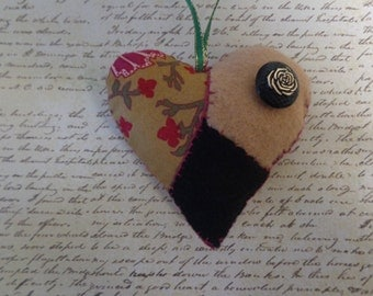 Handmade Floral Print Patchwork Heart Ornament by Pepperland