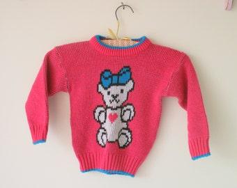 Vintage BEAR Kawaii Sweater.....girls size 2 ....children. kids. girls. pink sweater. bear print. kitsch. hearts. retro. love. cute. toddler