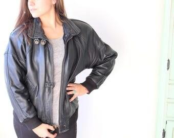 1980s BLACK LEATHER Jacket...size small. retro. designer vintage. 1980s. 1990s. rad. womens. rock n roll. genuine leather. grease. biker