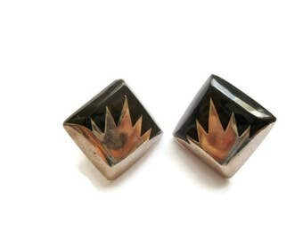Vintage Modernist Mexican Sterling Silver and Onyx Earrings Marked TR-128 Mexico .925