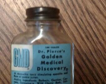 """Quack Medical Antique Bottle - Dr. Pierce's Golden Medical Discovery Tablet - FULL LABEL - 3.25"""""""