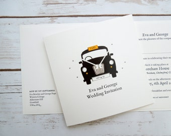 London Taxi/Black Cab themed wedding/evening invitations - personalised