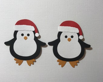 2 Christmas Penguin Die Cuts for Cards Scrapbooking and Paper Crafts Embellishments Fully Assembled Free Post Australia
