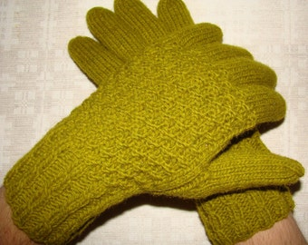 Men gloves- hand knitted from natural wool, warm, olive colour