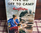 Vintage Childrens Book - Five Go off to Camp by Enid Blyton, 1964 Illustrated Red Linen Book Decorator Book