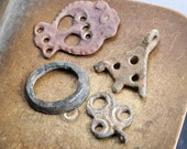 Set of 4 Antique brass pendants, charms, connector, finding, dark patina