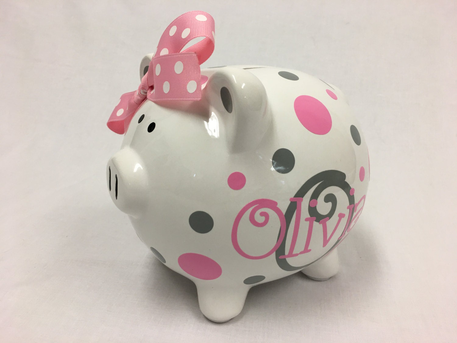 Personalized ceramic piggy bank baby shower gift nursery for How to make a piggy bank you can t open