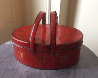 Vintage Red Tin Basket with Handles / ON SALE