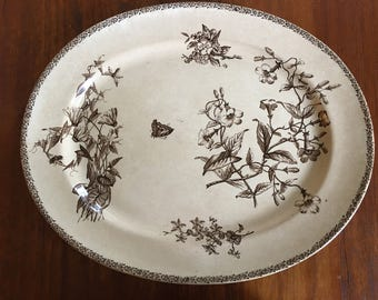 Antique English Ironstone Brown Transferware Large Oval Platter / Flowers Butterfly