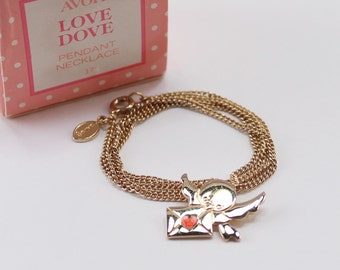 Vintage 1980 Signed Avon Love Dove Gold Tone Bird Red Enamel Heart Letter Goldtone Chain Pendant Necklace in Original Box NIB Valentines Day