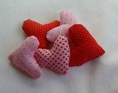 Stuffed Mini Hearts - Set of 5 - Craft supply - Valentine's Day - Bowl fillers