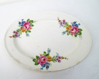 Vintage Oval Platter | Serving Tray | Edwin M Knowles China | Oval Plate | Semi Vitreous Porcelain | Pink Roses