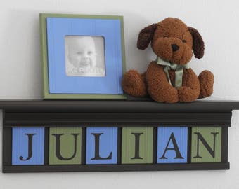 Personalized Name Shelf in Chocolate Brown with Wooden Letter Plaques Light Blue, Light Green | Custom Baby Name Sign | Nursery Wall Shelves
