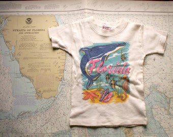 Vintage Kids Florida Souvenir Tshirt - 1970's Retro Clothing - Size 4