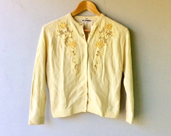 1950s SWEATER Girl Cardigan with Lace Beads and Appliqué // Size Med - Lg // Wool with Lining