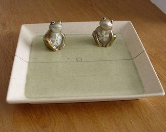 Vintage SHOWA Original Ware Square Sushi Appetizer Plate TRAY ~  Plus: New FROG Salt & Pepper Shakers ~ Something Old Something New!