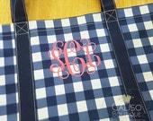 Large Monogram Tote - Big Grocery Tote - Personalized Tote Bag - Gingham Blue White Over-Sized Tote - Owen Tote - Big Monogram Tote Bag