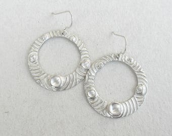 Circle earrings, hoop dangles, gypsy dangles, hoop dangle earrings, fine silver earrings, water circle earring, water drop earrings