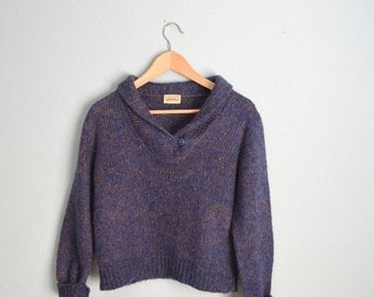 MLK - 20% off SALE - Vintage 80s Heathered Purple Blue Wool Blend Shawl Neck Cropped Cozy Winter Sweater // womens medium