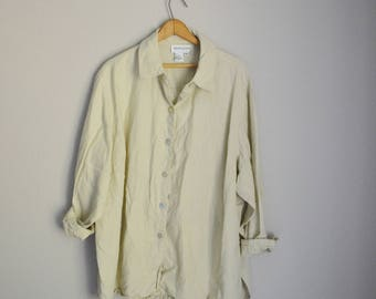 vintage tan flaxen linen blouse shirt -- womens xxxlarge- 3X- oversized linen blouse